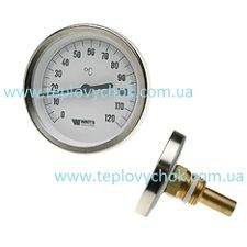 Термометр 0-120 С Watts биметаллический осевой