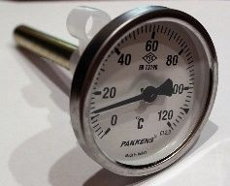 """Термометр Ø63мм, 0-120°С, с резьбой 1/2"""" биметаллический, осевой"""