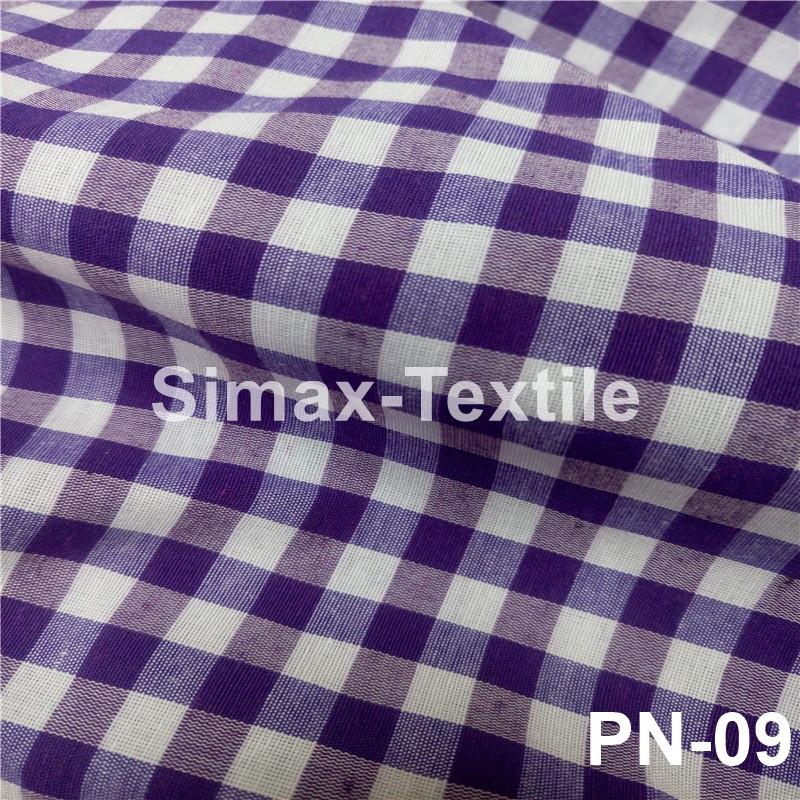Ткань Рубашечная, рубашка, ткань на рубашку(Фиолетовый+Белый), Код: РN-09 клетка 6 мм