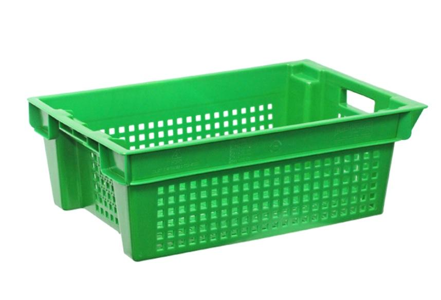 Ящик пластиковый перфорированный 600x400x200мм зелёный