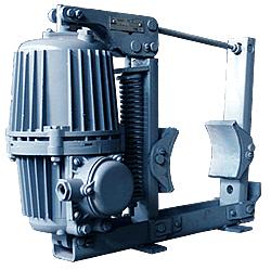 Колодочный тормоз общего назначения типа ТКГ с электрогидравлическим толкателем для шкивов диаметром то 160 до 400 мм