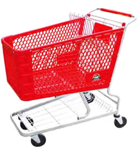 Тележка покупательская с пластиковой корзиной