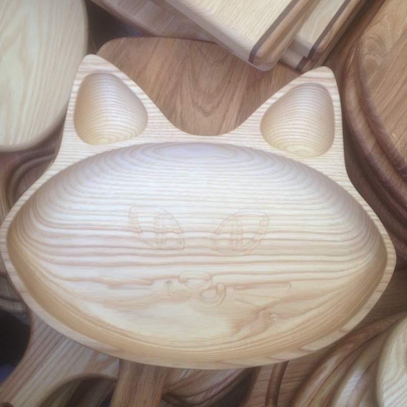 Деревянная тарелка Кошка на 3 отсека