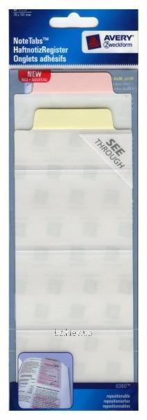 Большая самоклеющаяся закладка-выделитель, светло-розовый и желтый, 6 шт. Размер - 76*191 мм