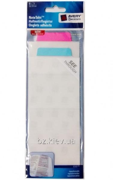 Большая самоклеющаяся закладка-выделитель, бирюзовый и розовый, 6 шт. Размер - 76*191 мм
