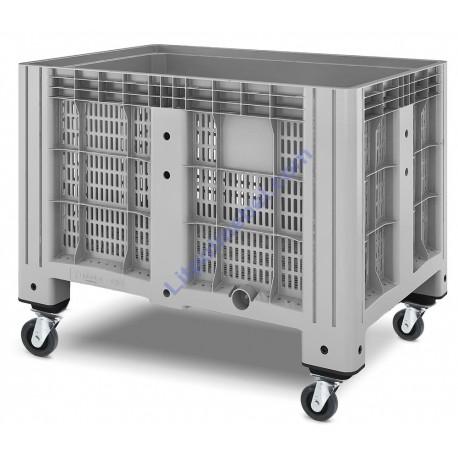 Пластиковый контейнер iBox перфорированный на колёсах