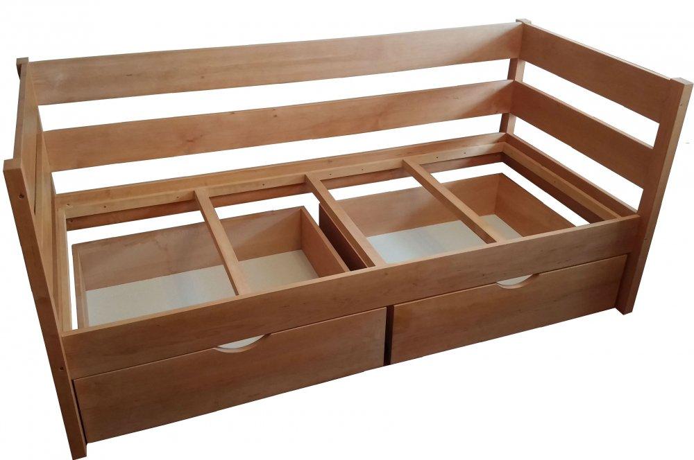 Кровать односпальная деревянная с ящиками для белья (для гостиниц) 800 х 1900 мм