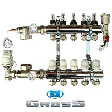 Коллектор водяного теплого пола Gross 2-14 контуров в сборе арт.: 92614