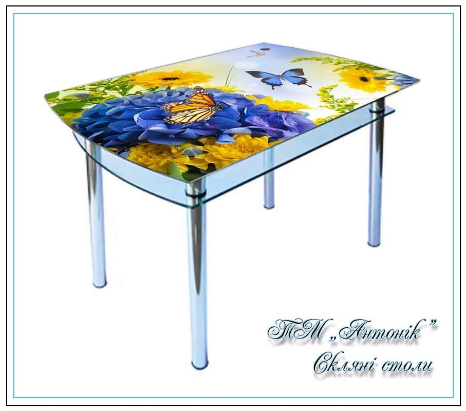 Купить Кухонный стол КС-4 сине-желтый с фотопечатью на металлических опорах
