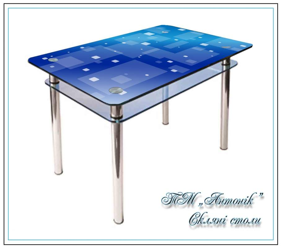 Купить Кухонный стол Кс-1 синяя абстракция с фотопечатью на металлических опорах