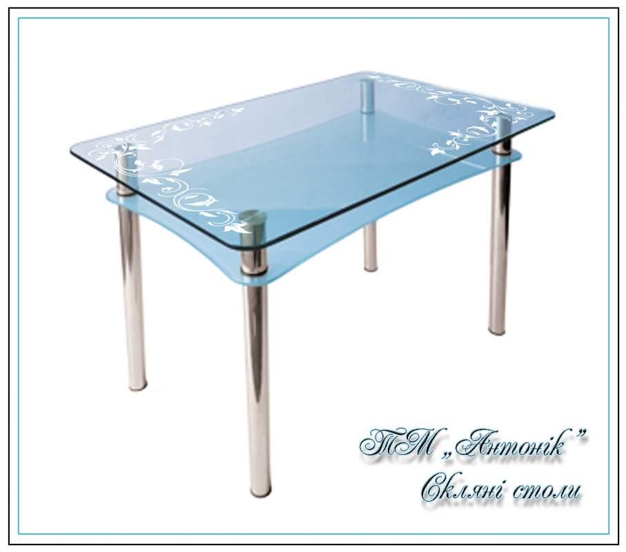 Купить Кухонный стол Абрис №40 с пескоструем на металлических опорах