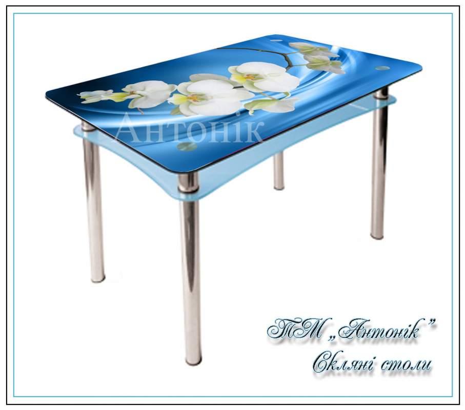 Купить Кухонный стол Абрис №162 с фотопечатью на металлических опорах