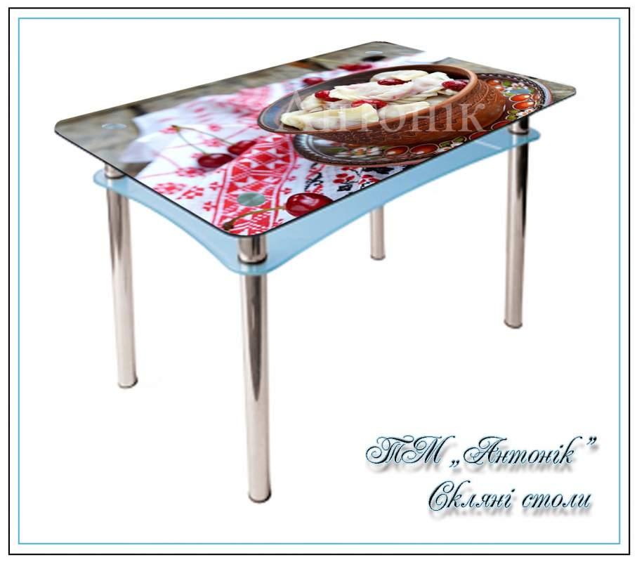 Купить Кухонный стол Абрис №177 с фотопечатью на металлических опорах