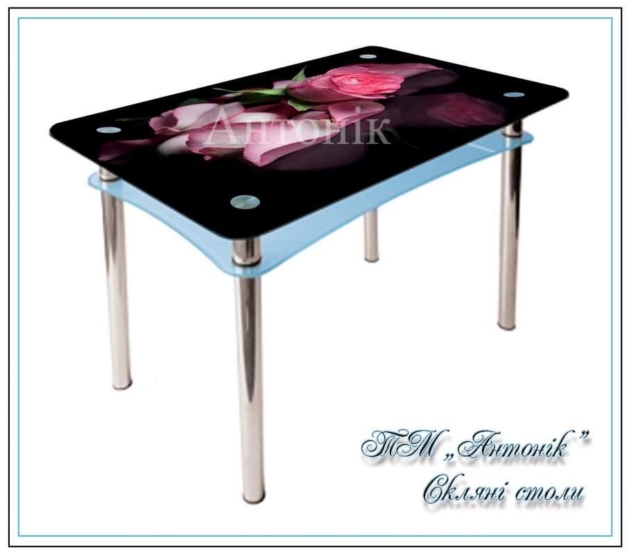 Купить Кухонный стол Абрис №191 с фотопечатью на металлических опорах