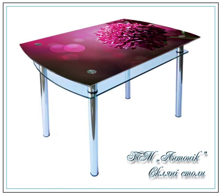 Купить Кухонный стол Кс-4 хризантема с фотопечатью на металлических опорах