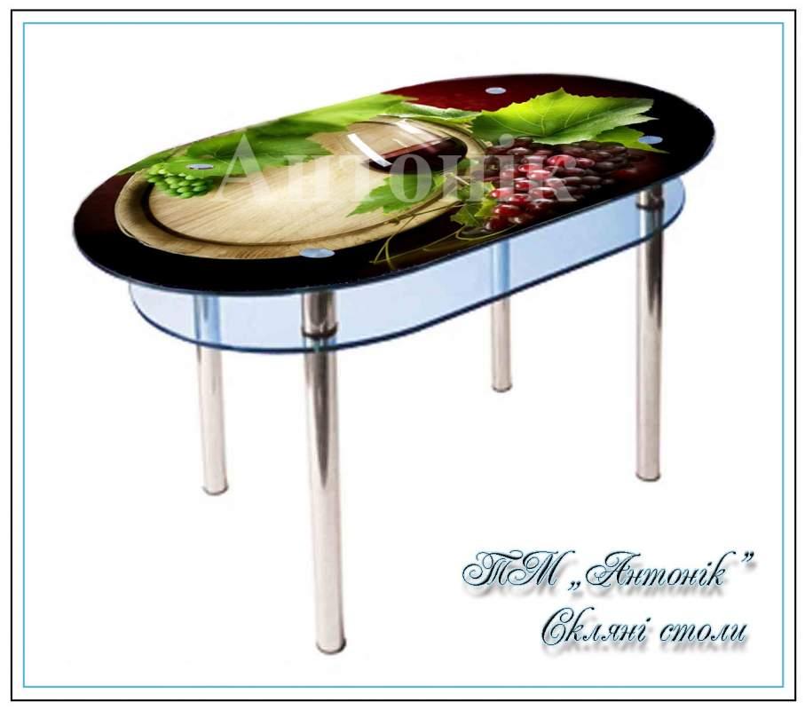 Купить Кухонный стол Кс-6 вино с фотопечатью на металлических опорах