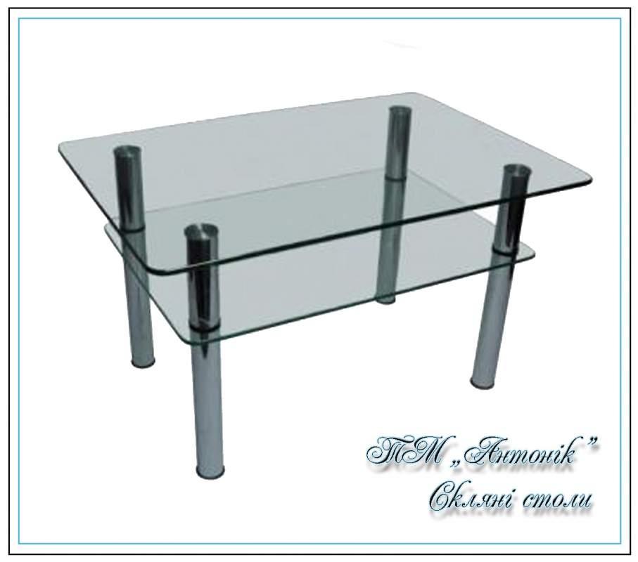 Купить Журнальный стол ст-104 прозрачный на металлических опорах