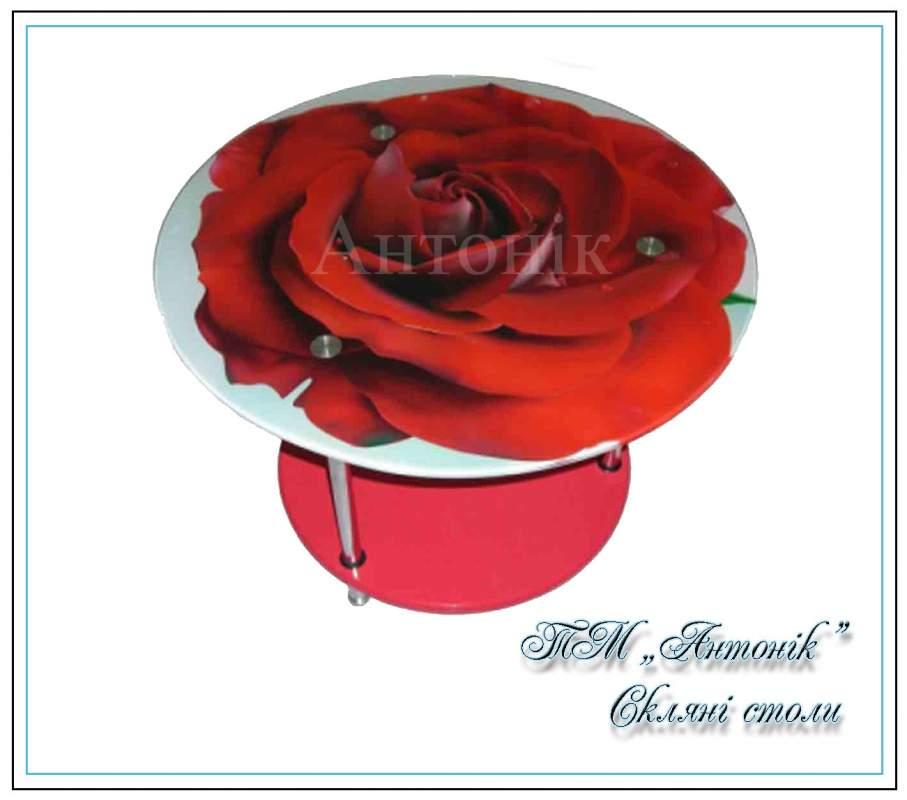 Купить Журнальный стол ст-603 №1 роза на металлических опорах