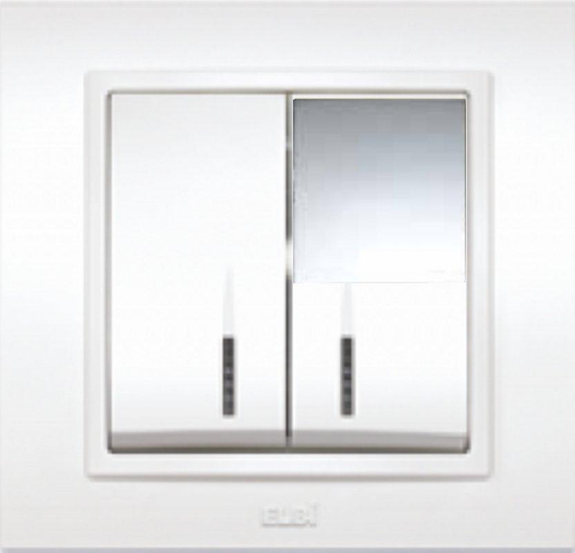 Купить Выключатель двойной с подсветкой серебро El-Bi Zena