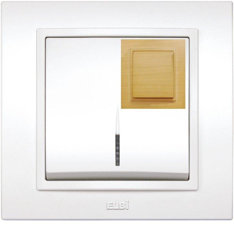 Купить Выключатель одноклавишный с подсветкой берёза El-Bi Zena