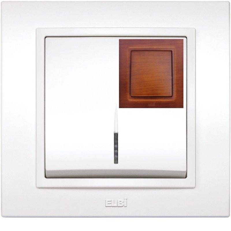 Купить Выключатель одноклавишный с подсветкой вишня El-Bi Zena