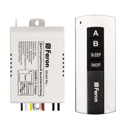 Купить Дистанционный выключатель света 3 канала 1000W 30M Feron