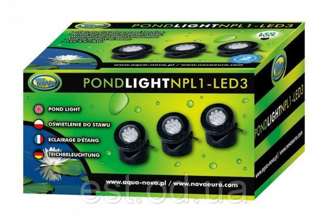 Купить Светодиодная подсветка пруда 3х1,6 Вт. с датчиком освещенности AquaNova NPL1