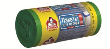 Пакеты для мусора TM Помощница  60л 20шт HDPE, 60см х 70см, зеленые