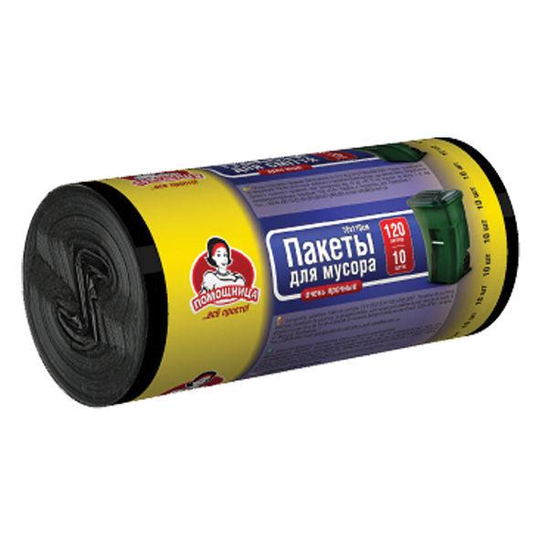 Пакеты для мусора TM Помощница 120л 10шт LDPE, черные