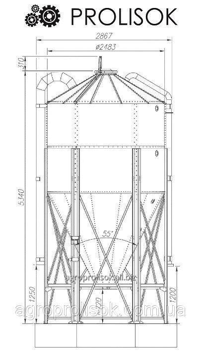 Метталический силос 10,3 т, 14.7 м3
