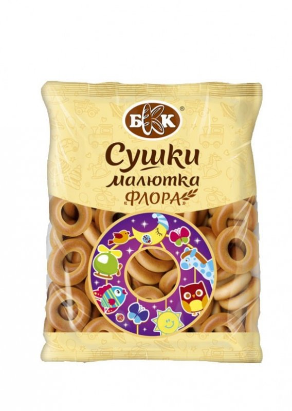 """Bagels baby """"Flora"""", Weight of 300 g. Crackling drying in the form of a ring of the small size with the reduced content of sugar"""
