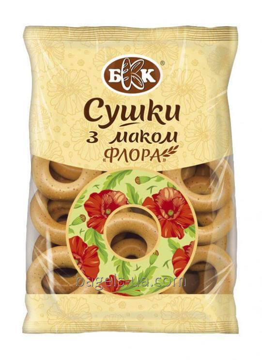 """Купить Сушки с маком """"Флора"""". Вес - 300 г. Изготовлены из сладкого пшеничного. не содержит животных жиров. ДСТУ."""