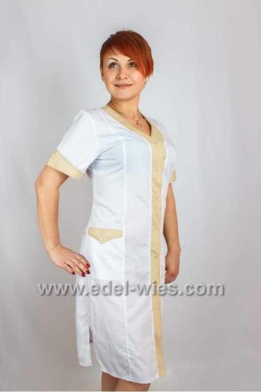 Купить Женский медицинский халат без воротника с планкой и коротким рукавом