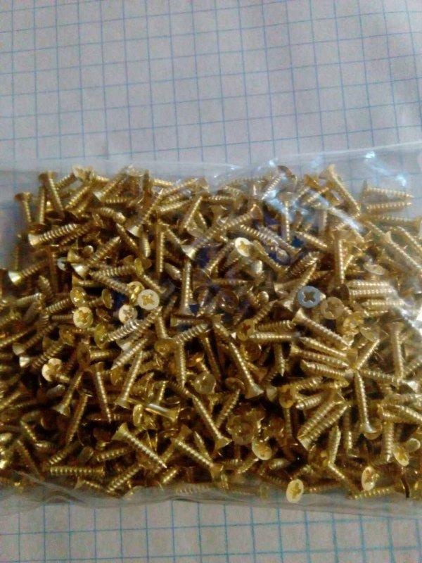 Саморезы по дереву упак 100 грамм (цвет золото )