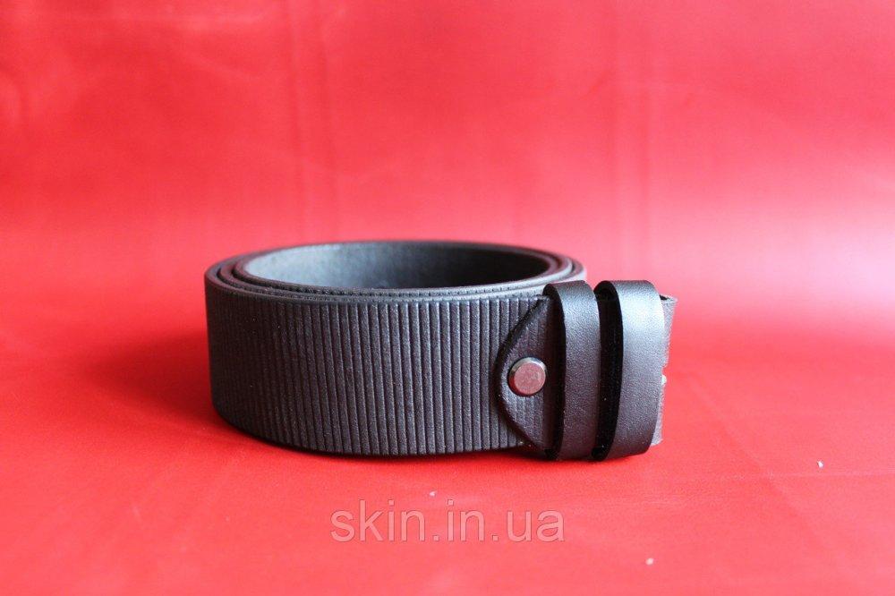 Ремень из натуральной кожи без пряжки шириной 39 мм с теснением или прошивкой черного цвета арт. СКУ 9019
