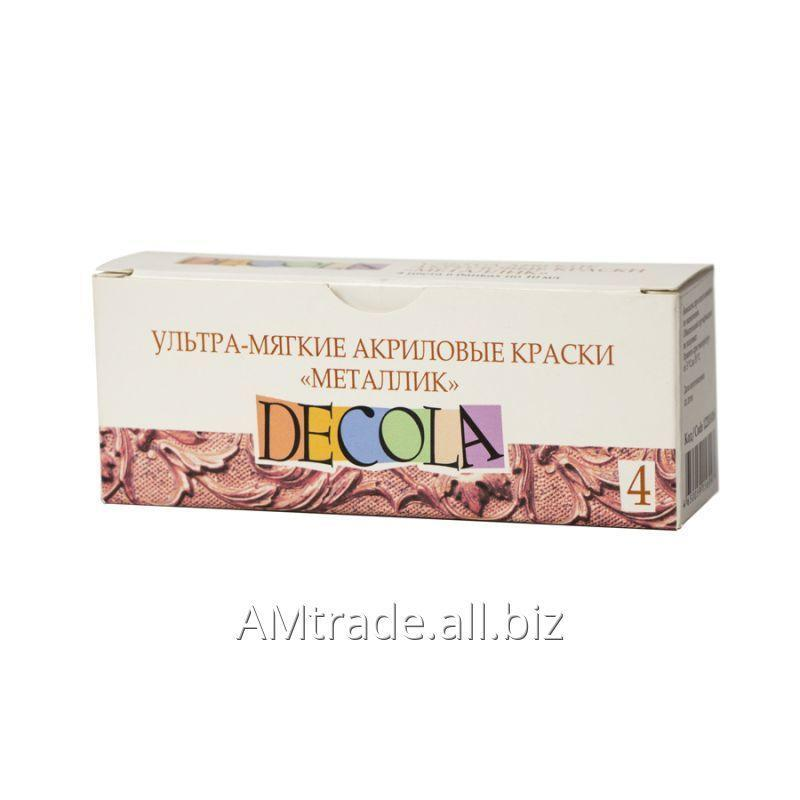 Купить Набор ультра-мягких акриловых красок Decola, металлик, 4 х 10мл