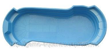 Стеклопластиковый стекловолоконный бассейн Лидер-2 8,63 х 3,335 х 1,6-1,1м, с перепадом глубины
