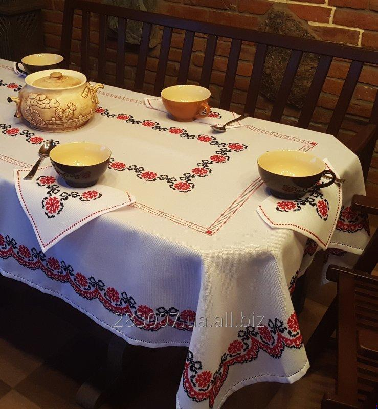 """Buy Embroidered tablecloth handmade napkins with lace colored openwork """"Kalinovy wreath"""""""