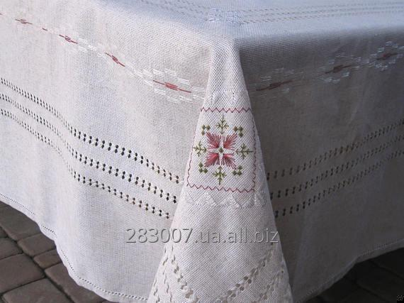 "Buy Linen tablecloth hand embroidered silk with a lot of openwork hemstitches ""Marsala"""