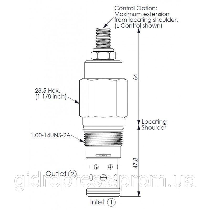 Клапан патрон RD3A25WL RD1-14UNS-2A 55-315bar 200l/min DN10