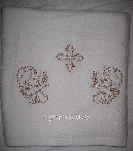 Полотенце крестильное,махровое с кричневой вышивкой 50*100 (шт.)