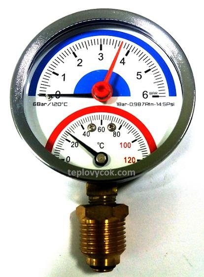Купить Термоманометр вертикальный (нижний) Aqua World XF344