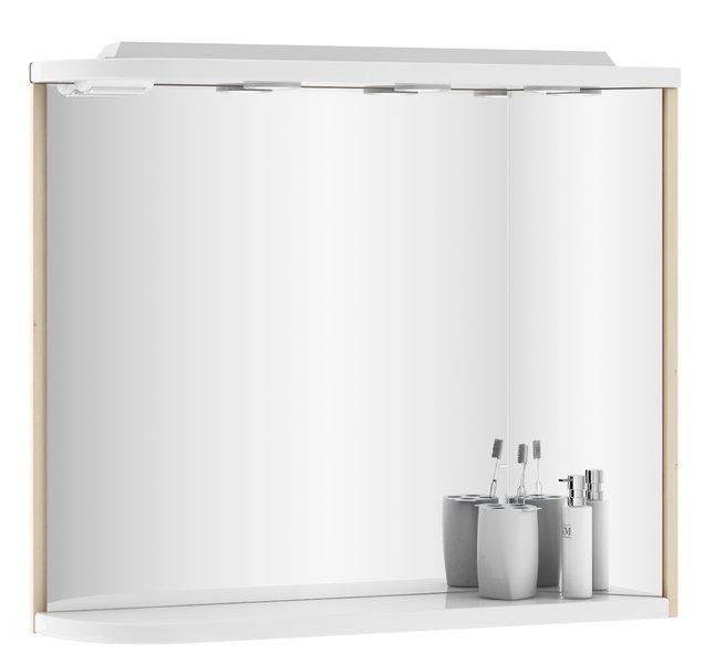 Купить Зеркало Ravak с полочкой, освещением и розеткой M 780 R береза/белый