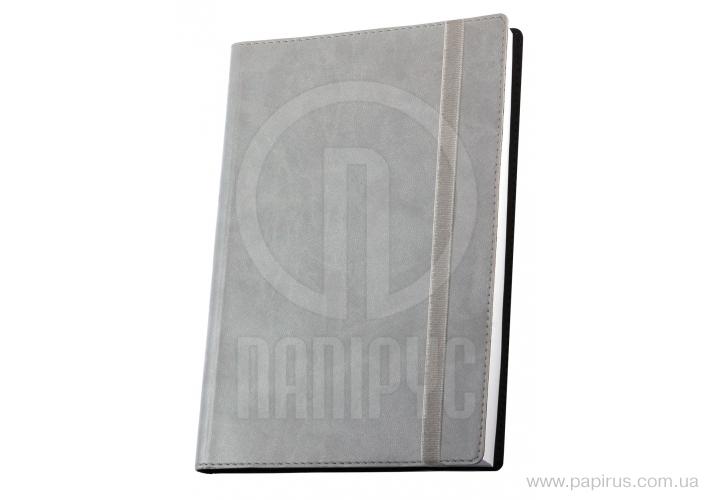 Купить Деловая записная книжка А5 с резинкой, Vivella, цвет обложки-серый
