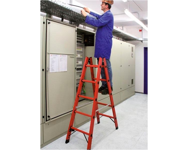 Купить Полностью диэлектрическая двухсторонняя стремянка KRAUSE 2x14 ступени