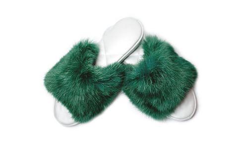 Тапочки женские 02KT_40 зеленый , серебро