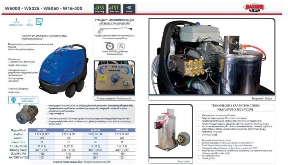 Аппарат высокого давления Mazzoni W5000-W5025-W5050-W16-400