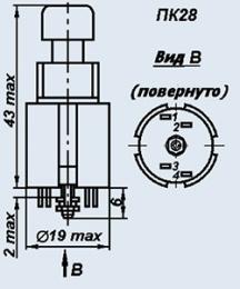 Кнопка ПК28-3В