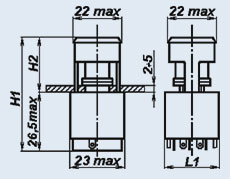 Кнопочный переключатель П2П1Т-4ЖВ