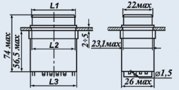 Кнопочный переключатель П2П1ТА-1ЖВ